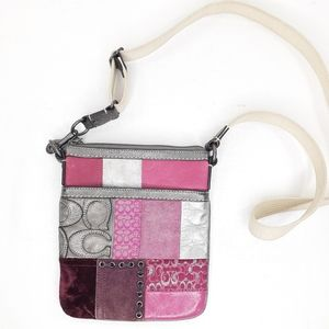 Coach Pink Patchwork Swingpack Crossbody Bag Purse